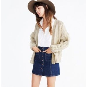 MADEWELL Fringe Cable  Knit Wool  cardigan sweater